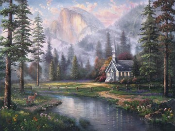 Valley Chapel nature scene Oil Paintings