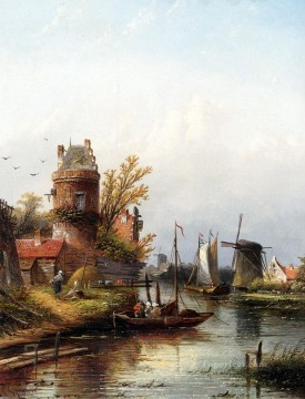 Vue De Buiksloot Pres D Amsterdam boat Jan Jacob Coenraad Spohler Landscapes stream Oil Paintings