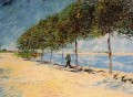 Walk Along the Banks of the Seine Near Asnieres Vincent van Gogh Landscapes stream