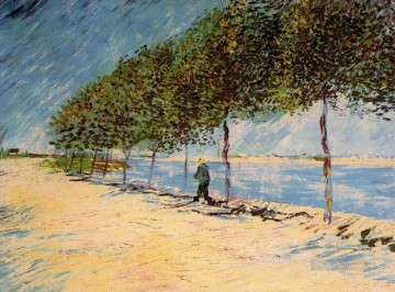 Walk Along the Banks of the Seine Near Asnieres Vincent van Gogh Landscapes stream Oil Paintings