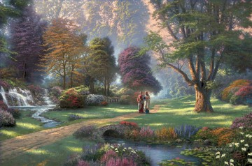 outdoor landscape landscapes scenery scenes impasto kinkade venice seascape street Painting - Walk of Faith full Thomas Kinkade Landscapes stream