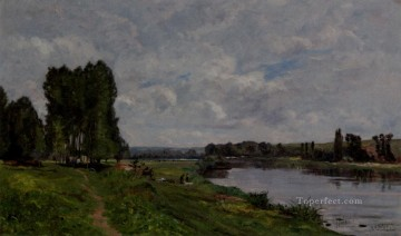 Washerwoman On The Riverbank scenes Hippolyte Camille Delpy Landscapes Oil Paintings