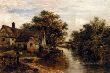 Willy Lotts House The Subject Of Constables Hay Wain landscape Benjamin Williams Leader stream Oil Paintings
