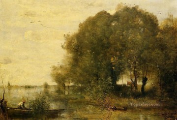 Wooded Peninsula Jean Baptiste Camille Corot stream Oil Paintings