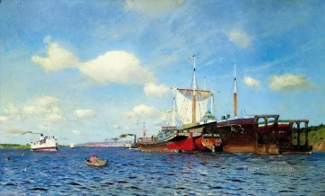 Artworks in 150 Subjects Painting - brisk wind volga 1885 Isaac Levitan river landscape