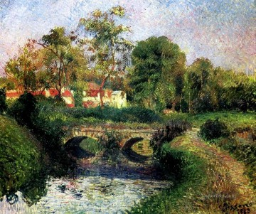 little bridge on the voisne osny 1883 Camille Pissarro Landscapes brook Oil Paintings