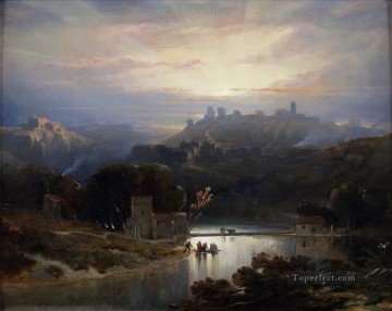 the castle of alcal de guada ra landscape David Roberts RA Oil Paintings