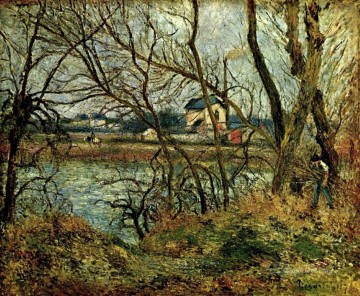 the climbing path l hermitage 1877 Camille Pissarro Landscapes brook Oil Paintings