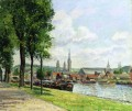 the cours la riene the notre dame cathedral rouen 1898 Camille Pissarro Landscapes brook