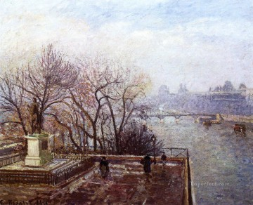 the louvre morning mist 1901 Camille Pissarro Landscapes brook Oil Paintings