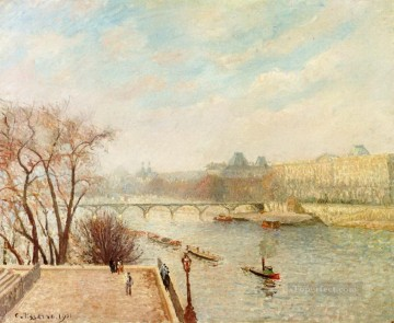 the louvre winter sunlight morning 2nd version 1901 Camille Pissarro Landscapes brook Oil Paintings