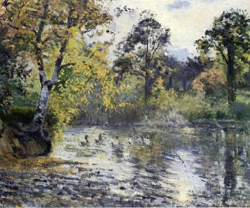 the pond at montfoucault 1874 Camille Pissarro Landscapes brook Oil Paintings