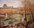the pont du carrousel afternoon 1903 Camille Pissarro Landscapes brook
