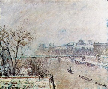 the seine viewed from the pont neuf winter 1902 Camille Pissarro Landscapes stream Oil Paintings