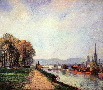 view of rouen 1883 Camille Pissarro Landscapes stream Oil Paintings