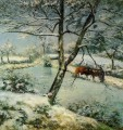 winter at montfoucault 1875 Camille Pissarro Landscapes stream