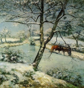 winter at montfoucault 1875 Camille Pissarro Landscapes stream Oil Paintings