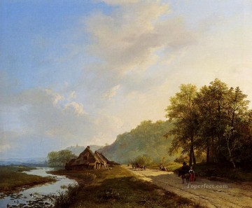 A Summer Landscape With Travellers On A Path Dutch Barend Cornelis Koekkoek stream Oil Paintings