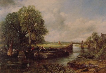 A View on the Stour near Dedham Romantic landscape John Constable stream Oil Paintings