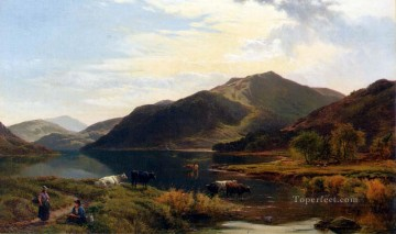 Cattle By A Lake landscape Sidney Richard Percy stream Oil Paintings