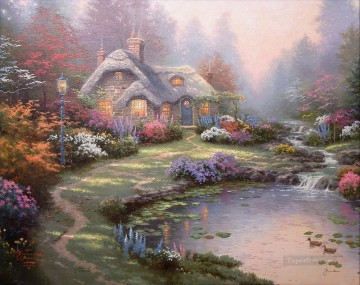 outdoor landscape landscapes scenery scenes impasto kinkade venice seascape street Painting - Everett Cottage Thomas Kinkade Landscapes stream