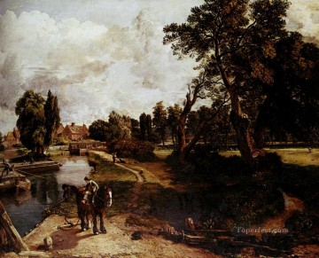 stream Painting - Flatford Mill Romantic landscape John Constable stream