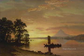INDIANS ON THE COLUMBIA RIVER WITH MOUNT HOOD IN THE DISTANCE American Albert Bierstadt landscape Oil Paintings