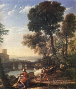 stream Painting - Landscape with Apollo Guarding the Herds of Admetus Claude Lorrain stream