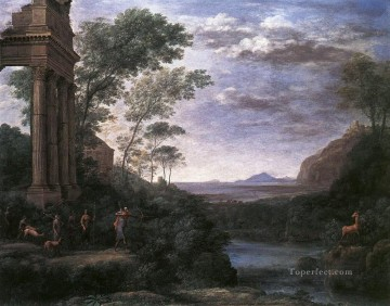 Landscape with Ascanius Shooting the Stag of Sylvia Claude Lorrain stream Oil Paintings
