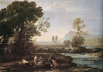 Lorrain Art Painting - Landscape with Rest in Flight to Egypt Claude Lorrain stream