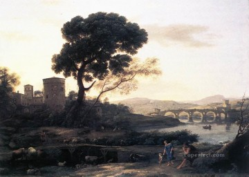 Landscape with Shepherds The Pont Molle Claude Lorrain stream Oil Paintings