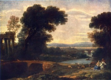 Landscape with Shepherds2 Claude Lorrain stream Oil Paintings