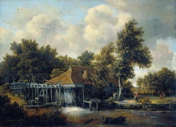 Mill landscape Meindert Hobbema stream Oil Paintings
