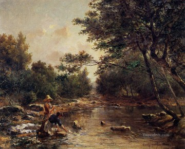 On the Banks of the River scenery Paul Camille Guigou Landscapes Oil Paintings