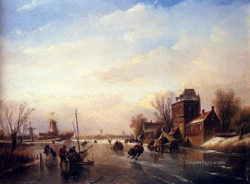 Brook River Stream Painting - Skaters On A Frozen River boat Jan Jacob Coenraad Spohler Landscapes