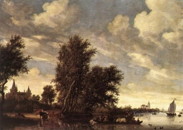The Ferry Boat landscape Salomon van Ruysdael stream Oil Paintings