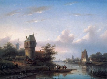 The Ferry boat Jan Jacob Coenraad Spohler Landscapes stream Oil Paintings