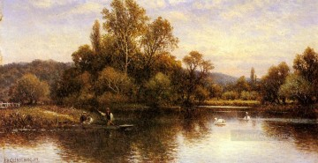 The Ferry landscape Alfred Glendening stream Oil Paintings