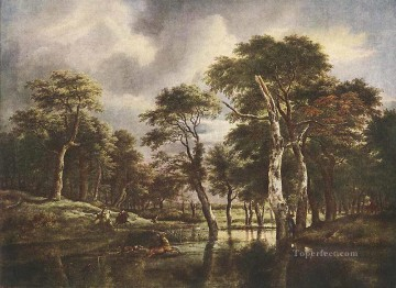 The Hunt landscape Jacob Isaakszoon van Ruisdael stream Oil Paintings