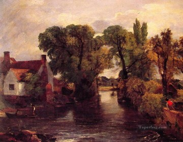 stream Painting - The Mill Stream Romantic landscape John Constable
