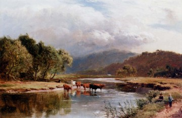 wales Art Painting - The Ponway Trefew North Wales landscape Sidney Richard Percy stream