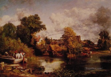 The White Horse Romantic landscape John Constable stream Oil Paintings