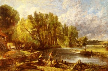 The Young Waltonians Romantic landscape John Constable stream Oil Paintings