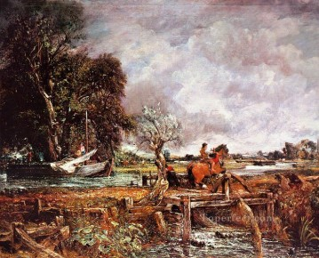 The leaping horse Romantic landscape John Constable stream Oil Paintings