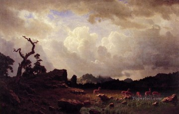 Thunderstorn in the Rocky Mountains Albert Bierstadt Landscapes stream Oil Paintings