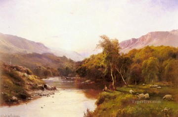Tyn y Groes The Golden Valley landscape Alfred de Breanski Snr stream Oil Paintings
