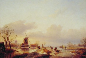 Winter Ice Skating boat Jan Jacob Coenraad Spohler Landscapes stream Oil Paintings