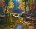 bear in autumn river Landscapes painting