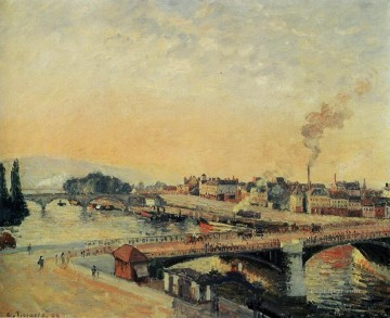 sunrise at rouen 1898 Camille Pissarro Landscapes stream Oil Paintings