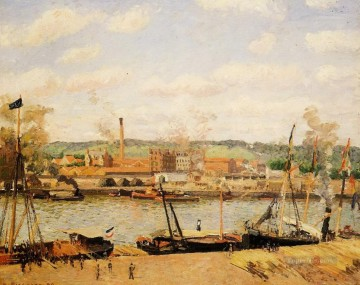 1898 Works - view of the cotton mill at oissel near rouen 1898 Camille Pissarro Landscapes stream